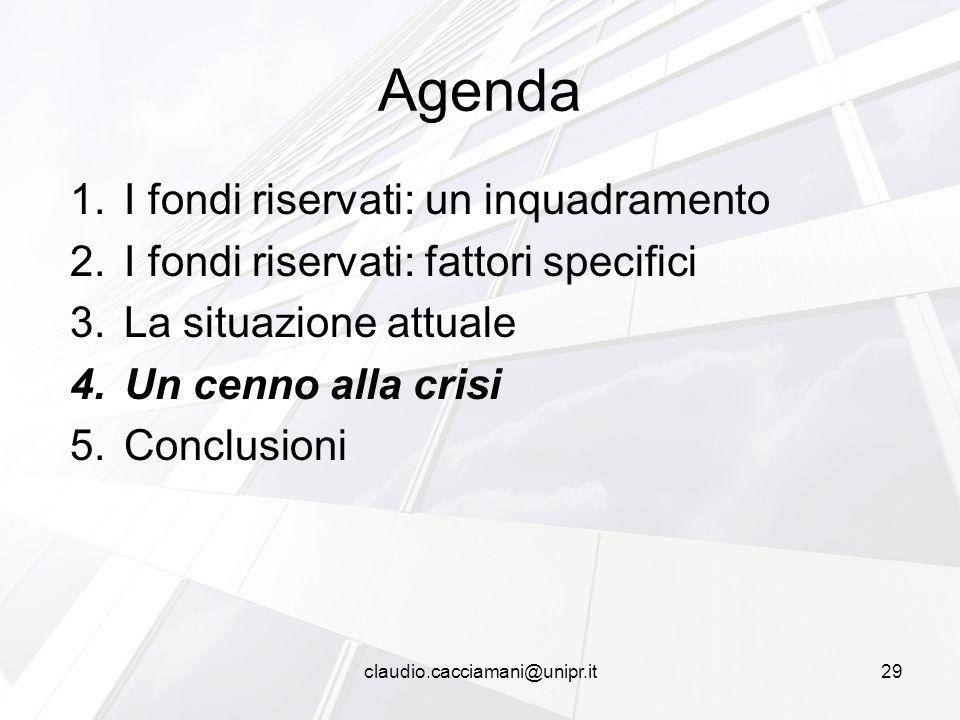 1.I fondi riservati: un inquadramento 2.I fondi riservati: fattori specifici 3.La situazione attuale 4.Un cenno alla crisi 5.Conclusioni Agenda 29clau