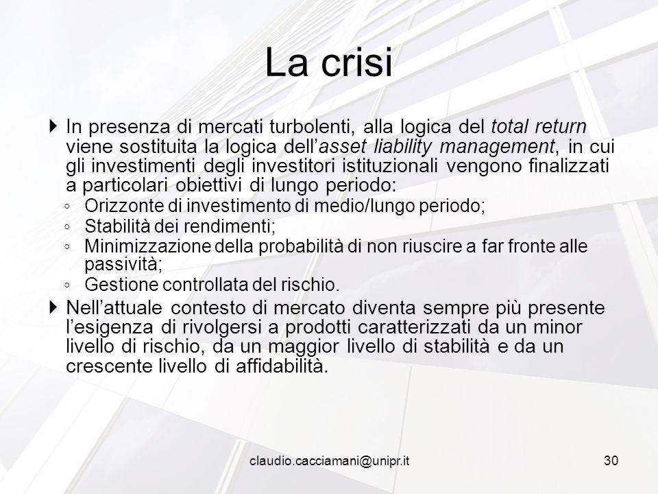  In presenza di mercati turbolenti, alla logica del total return viene sostituita la logica dell'asset liability management, in cui gli investimenti