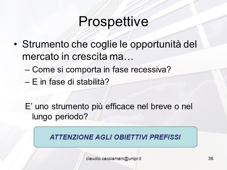 Strumento che coglie le opportunità del mercato in crescita ma… –Come si comporta in fase recessiva? –E in fase di stabilità? E' uno strumento più eff