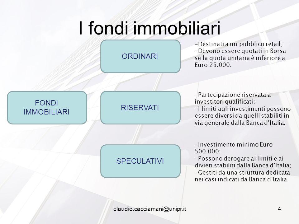 I fondi immobiliari FONDI IMMOBILIARI SPECULATIVI RISERVATI ORDINARI -Destinati a un pubblico retail; -Devono essere quotati in Borsa se la quota unitaria è inferiore a Euro 25.000.