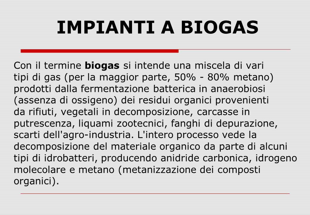 IMPIANTI A BIOGAS Con il termine biogas si intende una miscela di vari tipi di gas (per la maggior parte, 50% - 80% metano) prodotti dalla fermentazione batterica in anaerobiosi (assenza di ossigeno) dei residui organici provenienti da rifiuti, vegetali in decomposizione, carcasse in putrescenza, liquami zootecnici, fanghi di depurazione, scarti dell agro-industria.