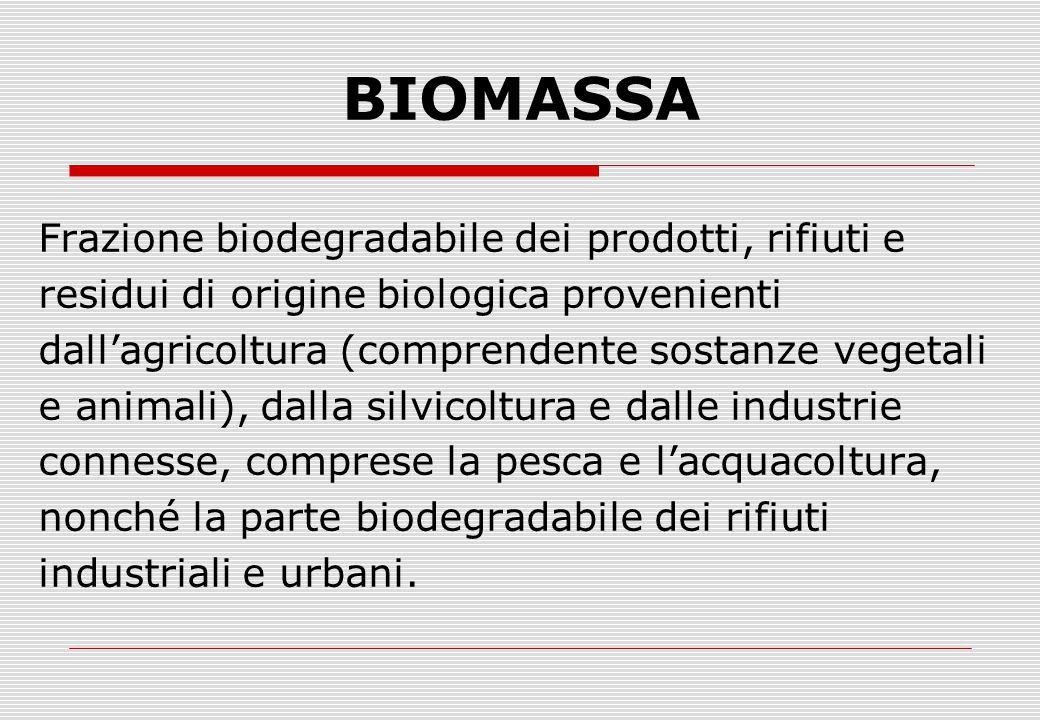 BIOMASSA Frazione biodegradabile dei prodotti, rifiuti e residui di origine biologica provenienti dall'agricoltura (comprendente sostanze vegetali e animali), dalla silvicoltura e dalle industrie connesse, comprese la pesca e l'acquacoltura, nonché la parte biodegradabile dei rifiuti industriali e urbani.