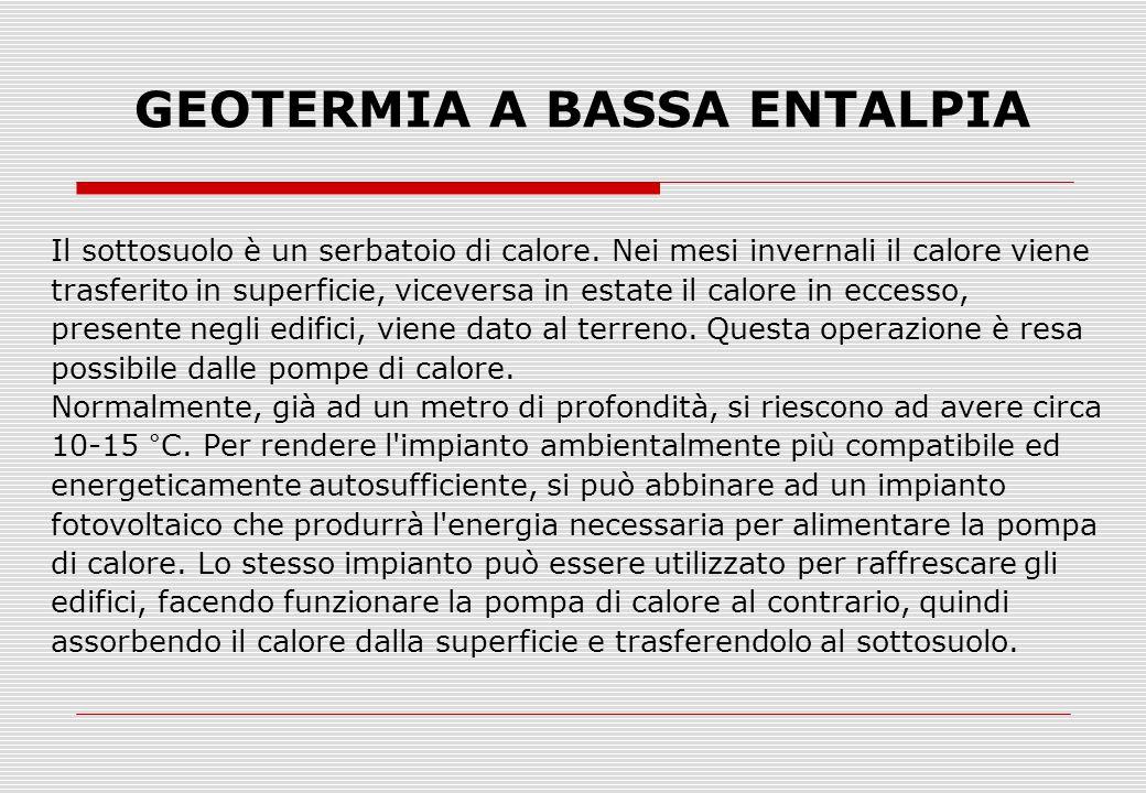 GEOTERMIA A BASSA ENTALPIA Il sottosuolo è un serbatoio di calore.