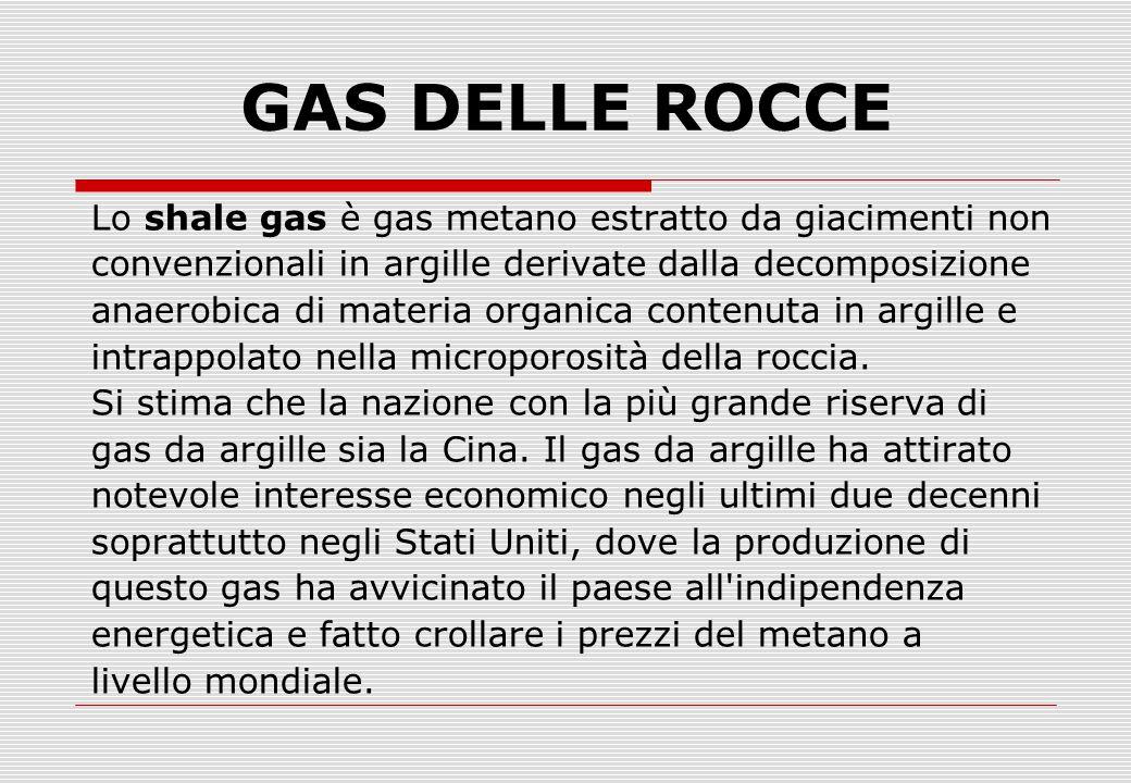 Lo shale gas è gas metano estratto da giacimenti non convenzionali in argille derivate dalla decomposizione anaerobica di materia organica contenuta in argille e intrappolato nella microporosità della roccia.