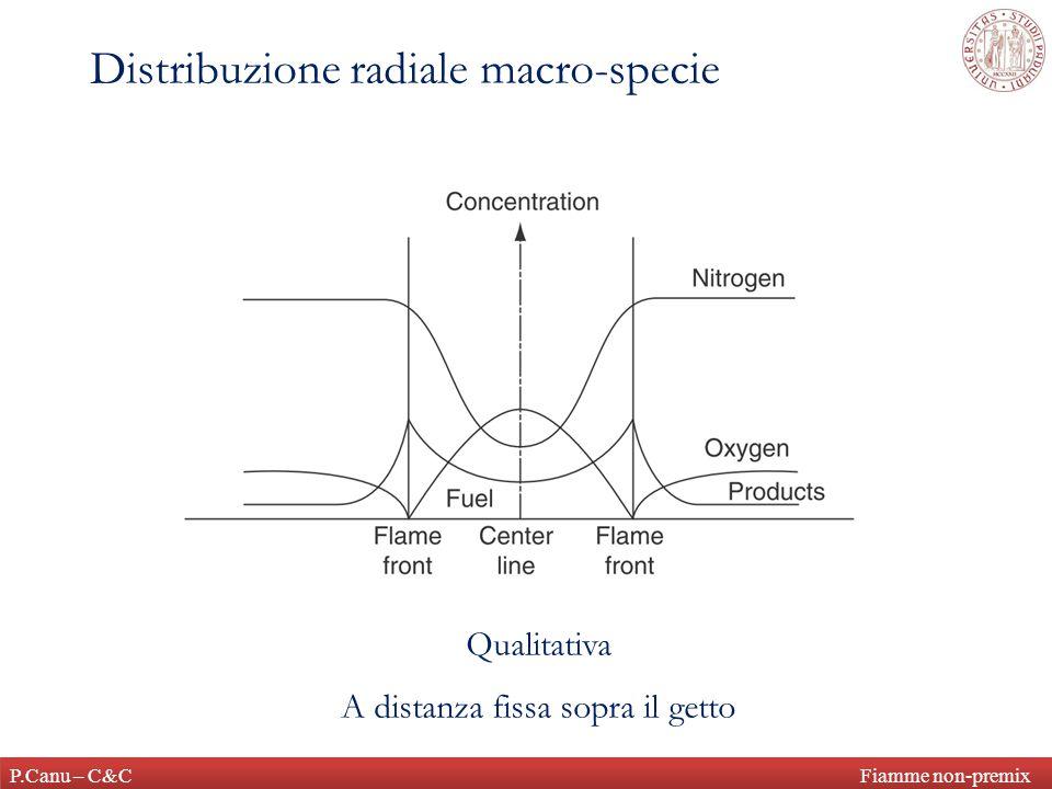 P.Canu – C&C Fiamme non-premix Distribuzione radiale macro-specie Qualitativa A distanza fissa sopra il getto