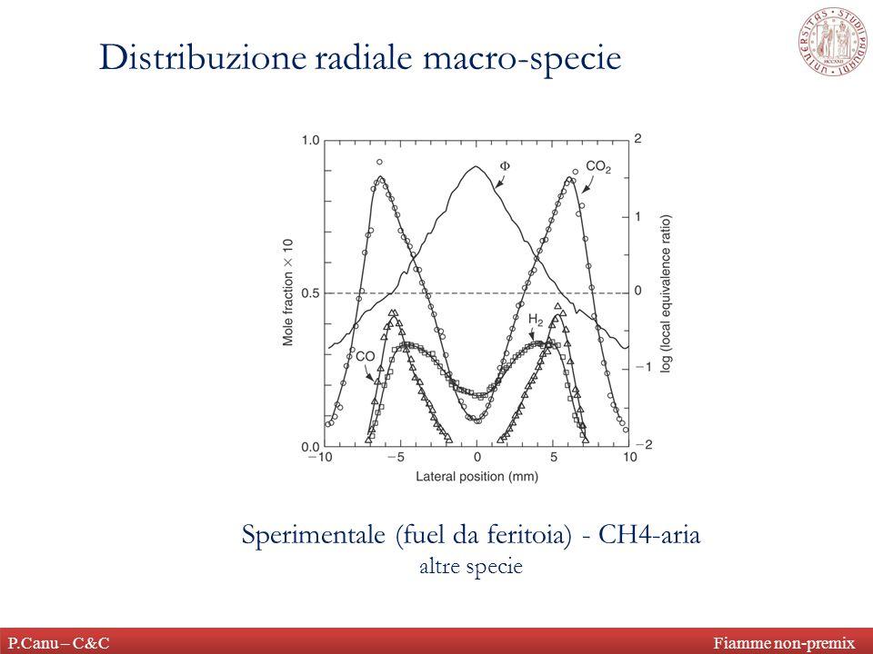 P.Canu – C&C Fiamme non-premix Distribuzione radiale macro-specie Sperimentale (fuel da feritoia) - CH4-aria altre specie