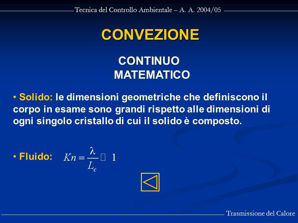 Tecnica del Controllo Ambientale – A. A. 2004/05 Trasmissione del Calore CONVEZIONE CONTINUO MATEMATICO Solido: le dimensioni geometriche che definisc