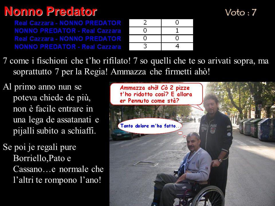 Nonno Predator Voto : 7 7 come i fischioni che t'ho rifilato! 7 so quelli che te so arivati sopra, ma soprattutto 7 per la Regia! Ammazza che firmetti