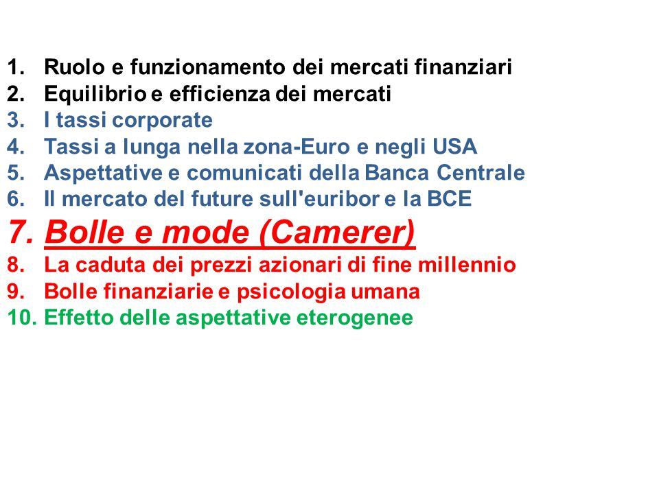 Problemi della mancata considerazione dell'eterogeneità delle aspettative The empirical literature demonstrates that very often the macroeconomics fundamentals are not able to explain the large and persistent movements of some economic variables such as securities prices or exchange rates.