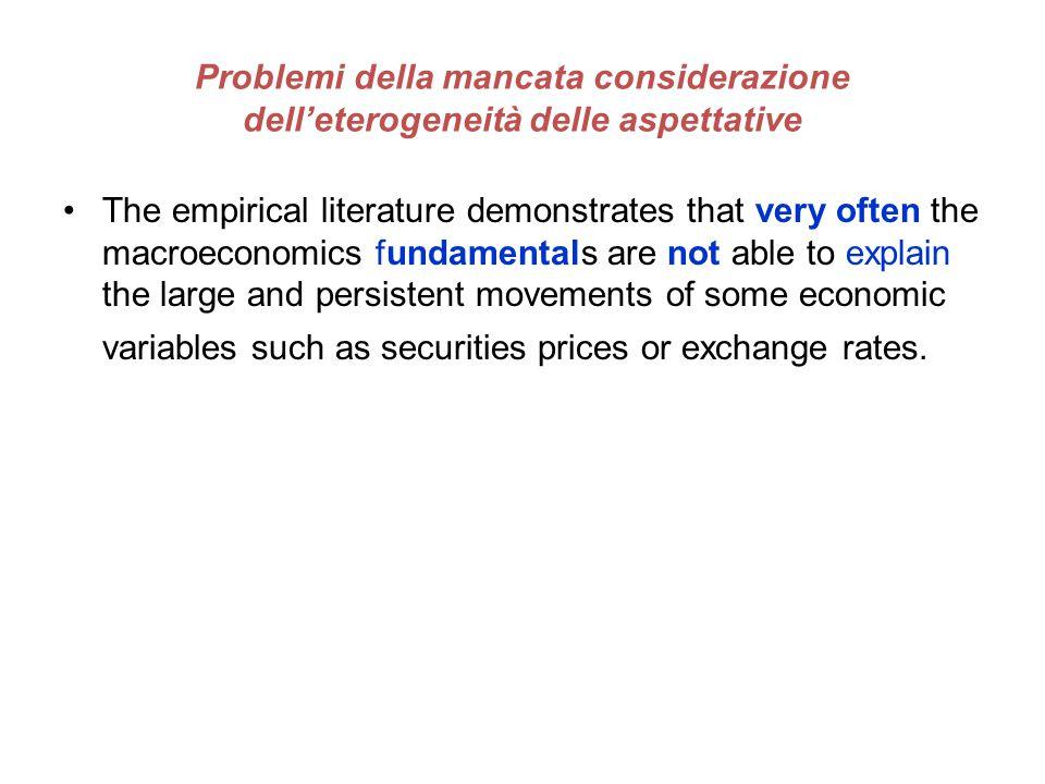 Problemi della mancata considerazione dell'eterogeneità delle aspettative The empirical literature demonstrates that very often the macroeconomics fun