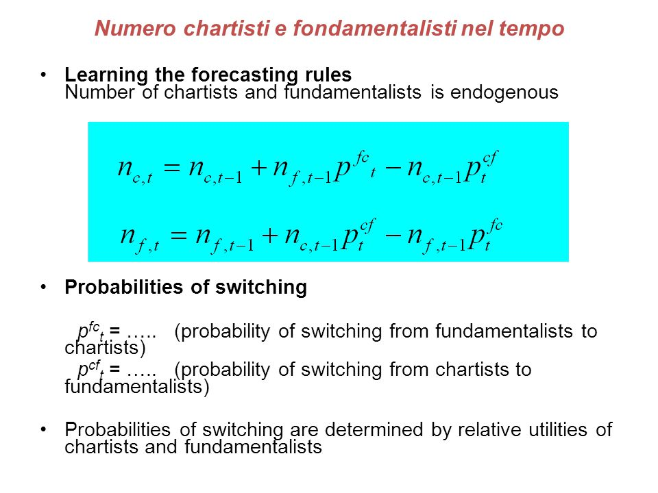 Numero chartisti e fondamentalisti nel tempo Learning the forecasting rules Number of chartists and fundamentalists is endogenous Probabilities of swi