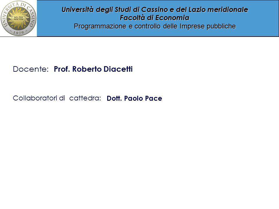 Università degli Studi di Cassino e del Lazio meridionale Facoltà di Economia Programmazione e controllo delle Imprese pubbliche Collaboratori di cattedra: Dott.