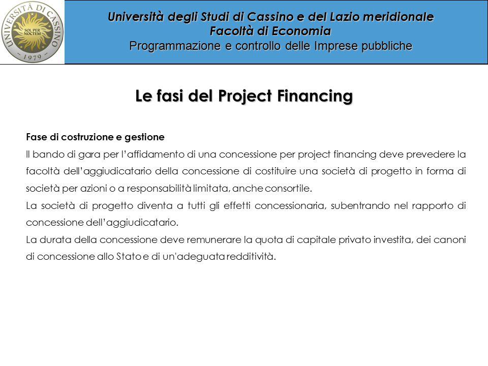 Università degli Studi di Cassino e del Lazio meridionale Facoltà di Economia Programmazione e controllo delle Imprese pubbliche Project Financing - La proprietà dell opera pubblica La proprietà dell opera realizzata è di regola dell ente pubblico.