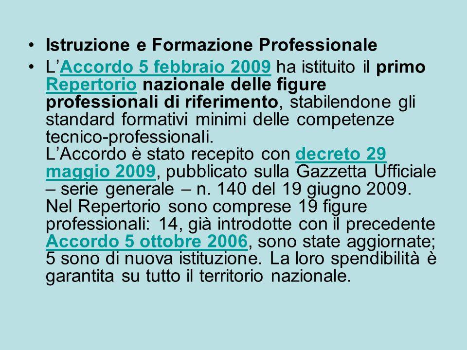 Istruzione e Formazione Professionale L'Accordo 5 febbraio 2009 ha istituito il primo Repertorio nazionale delle figure professionali di riferimento,