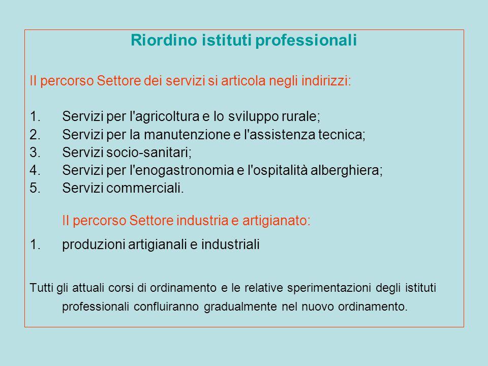 Riordino istituti professionali Il percorso Settore dei servizi si articola negli indirizzi: 1.Servizi per l'agricoltura e lo sviluppo rurale; 2.Servi
