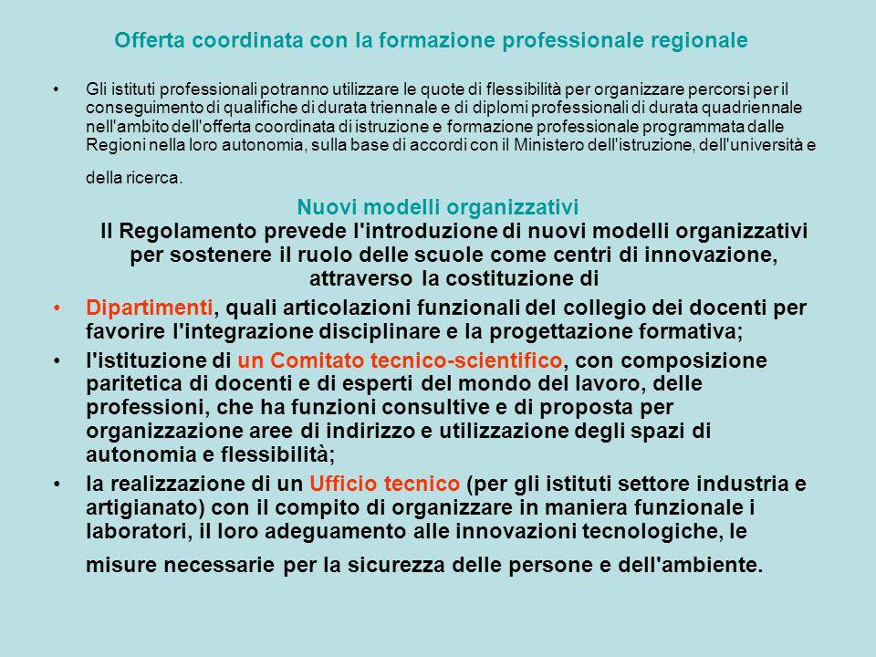 Offerta coordinata con la formazione professionale regionale Gli istituti professionali potranno utilizzare le quote di flessibilità per organizzare p