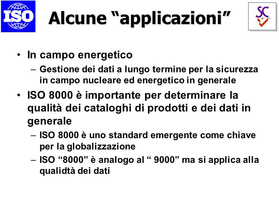 Alcune applicazioni In campo energetico –Gestione dei dati a lungo termine per la sicurezza in campo nucleare ed energetico in generale ISO 8000 è importante per determinare la qualità dei cataloghi di prodotti e dei dati in generale –ISO 8000 è uno standard emergente come chiave per la globalizzazione –ISO 8000 è analogo al 9000 ma si applica alla qualidtà dei dati