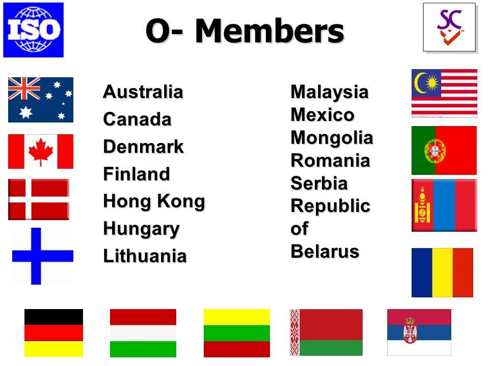 O- Members AustraliaCanadaDenmarkFinland Hong Kong HungaryLithuania MalaysiaMexicoMongoliaRomaniaSerbia Republic of Belarus