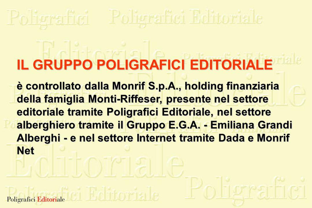 IL GRUPPO POLIGRAFICI EDITORIALE è controllato dalla Monrif S.p.A., holding finanziaria della famiglia Monti-Riffeser, presente nel settore editoriale