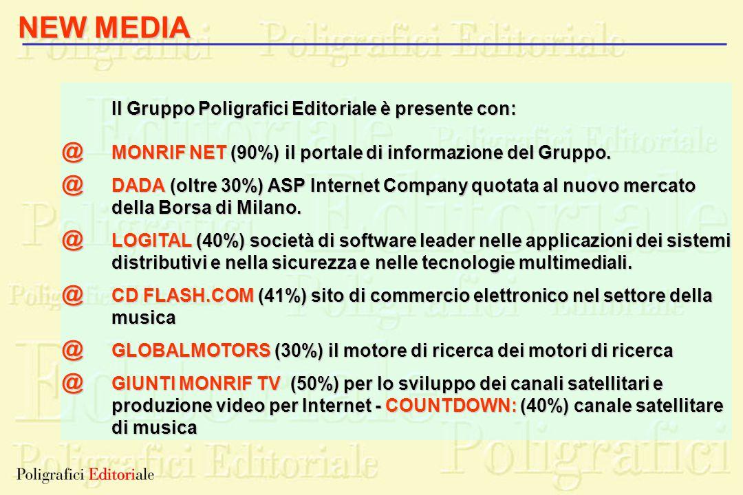 Il Gruppo Poligrafici Editoriale è presente con: MONRIF NET (90%) il portale di informazione del Gruppo. DADA (oltre 30%) ASP Internet Company quotata