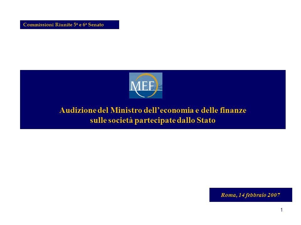 1 Audizione del Ministro dell'economia e delle finanze sulle società partecipate dallo Stato Roma, 14 febbraio 2007 Commissioni Riunite 5 a e 6 a Senato