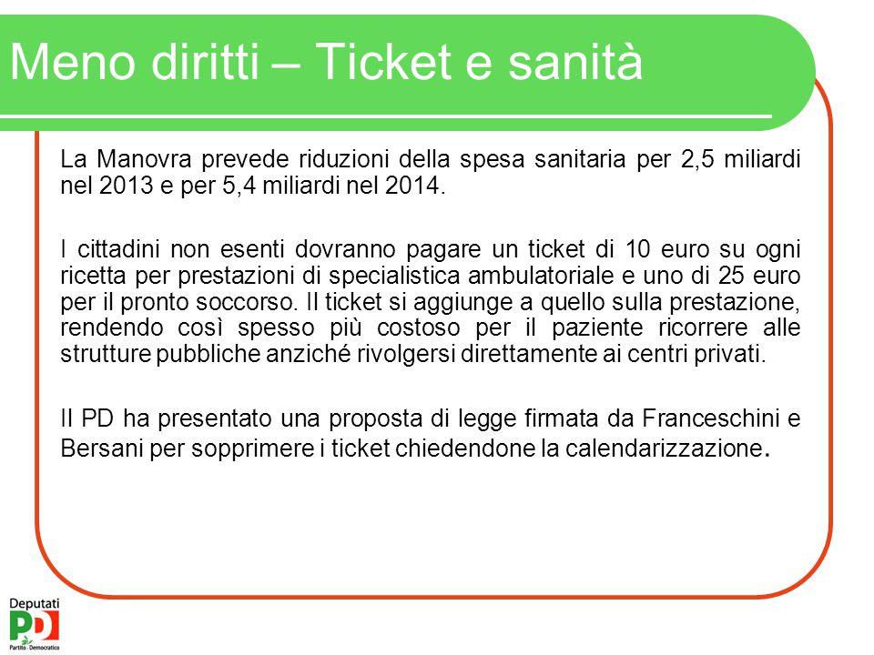 Meno diritti – Ticket e sanità La Manovra prevede riduzioni della spesa sanitaria per 2,5 miliardi nel 2013 e per 5,4 miliardi nel 2014.