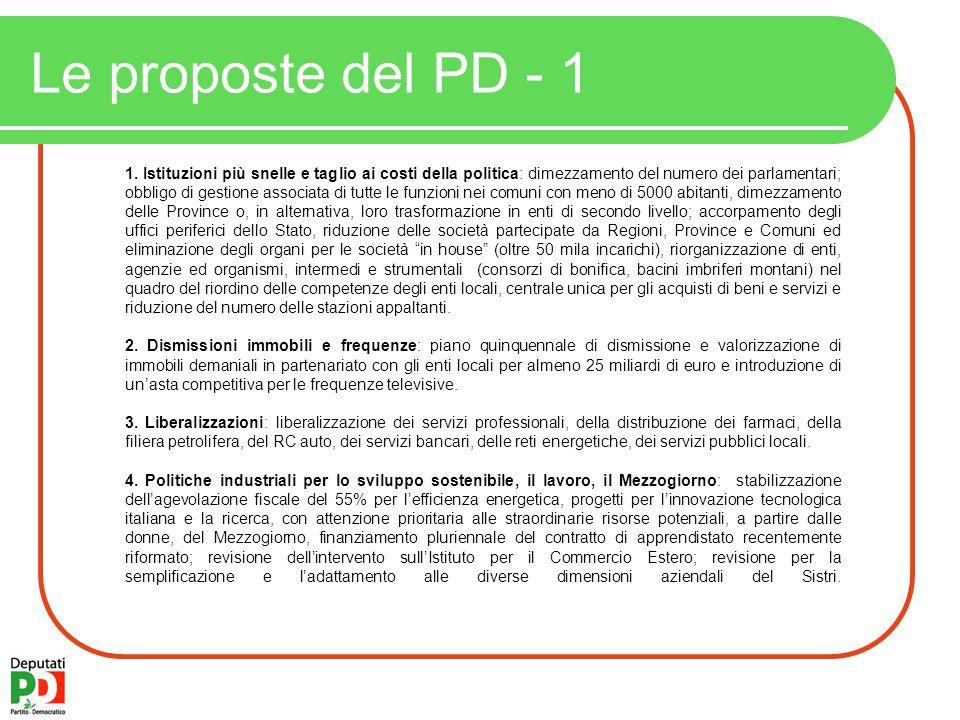 Le proposte del PD - 1 1.