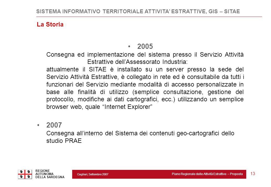 Cagliari, Settembre 2007 Piano Regionale delle Attività Estrattive – Proposta REGIONE AUTONOMA DELLA SARDEGNA 13 SISTEMA INFORMATIVO TERRITORIALE ATTI