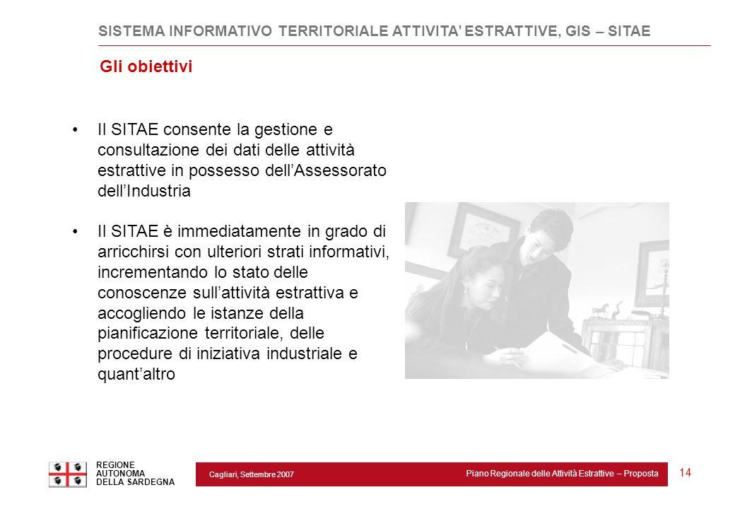 Cagliari, Settembre 2007 Piano Regionale delle Attività Estrattive – Proposta REGIONE AUTONOMA DELLA SARDEGNA 14 Il SITAE consente la gestione e consu