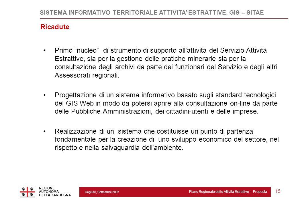 """Cagliari, Settembre 2007 Piano Regionale delle Attività Estrattive – Proposta REGIONE AUTONOMA DELLA SARDEGNA 15 Ricadute Primo """"nucleo"""" di strumento"""