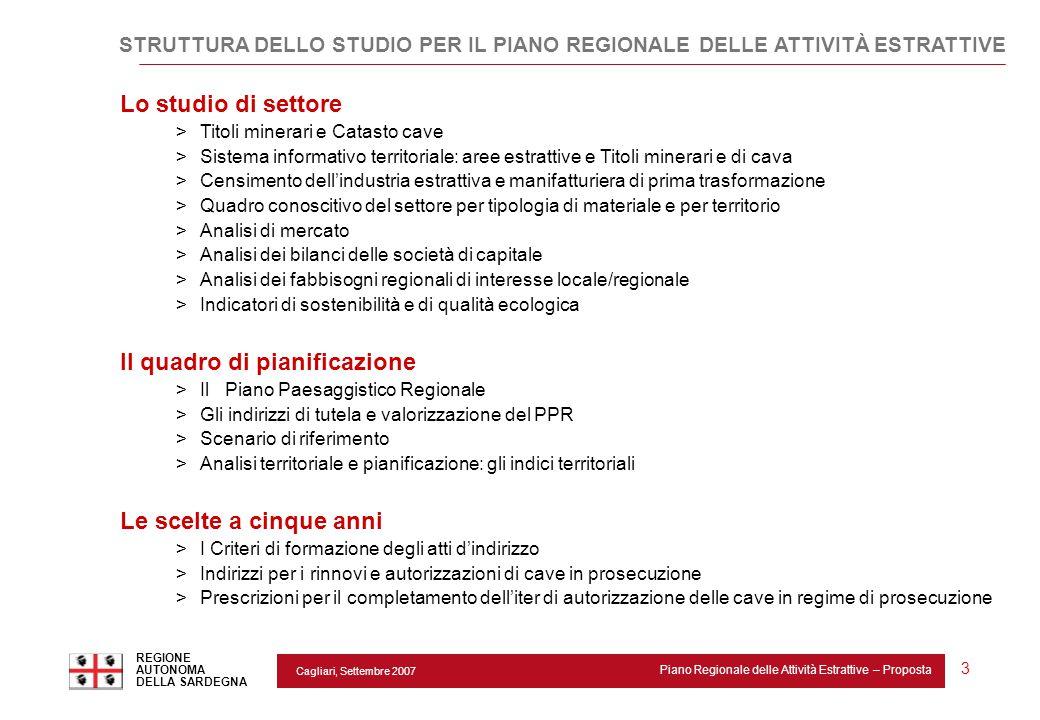 Cagliari, Settembre 2007 Piano Regionale delle Attività Estrattive – Proposta REGIONE AUTONOMA DELLA SARDEGNA 3 Lo studio di settore >Titoli minerari