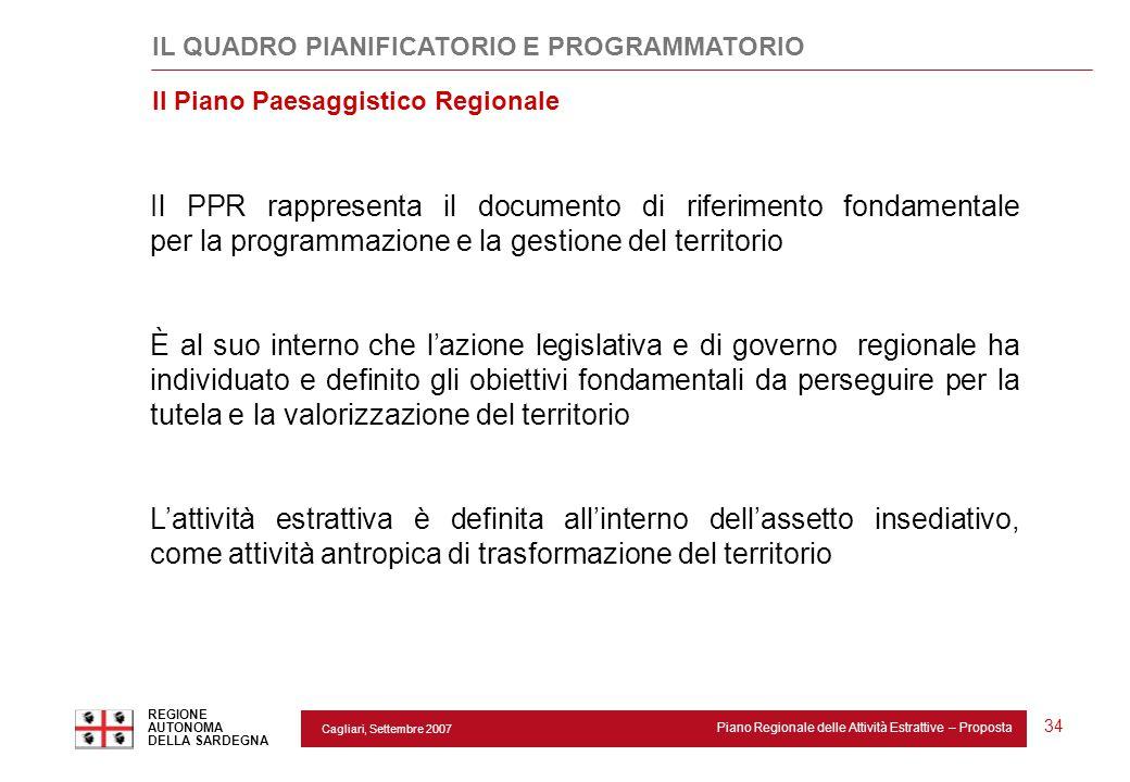 Cagliari, Settembre 2007 Piano Regionale delle Attività Estrattive – Proposta REGIONE AUTONOMA DELLA SARDEGNA 34 Il PPR rappresenta il documento di ri