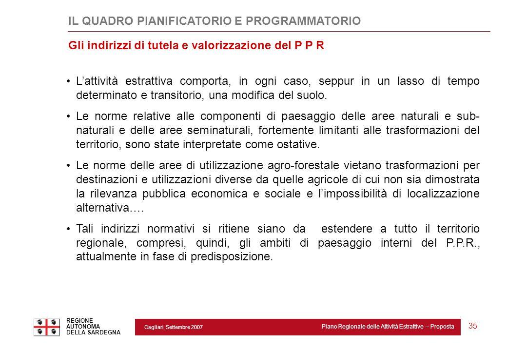 Cagliari, Settembre 2007 Piano Regionale delle Attività Estrattive – Proposta REGIONE AUTONOMA DELLA SARDEGNA 35 L'attività estrattiva comporta, in og
