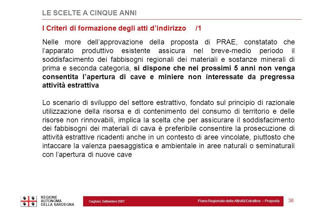 Cagliari, Settembre 2007 Piano Regionale delle Attività Estrattive – Proposta REGIONE AUTONOMA DELLA SARDEGNA 36 LE SCELTE A CINQUE ANNI Nelle more de