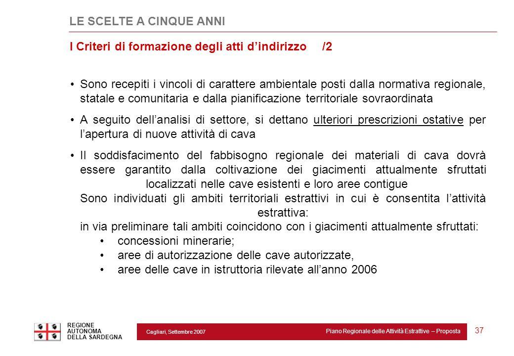 Cagliari, Settembre 2007 Piano Regionale delle Attività Estrattive – Proposta REGIONE AUTONOMA DELLA SARDEGNA 37 Sono recepiti i vincoli di carattere