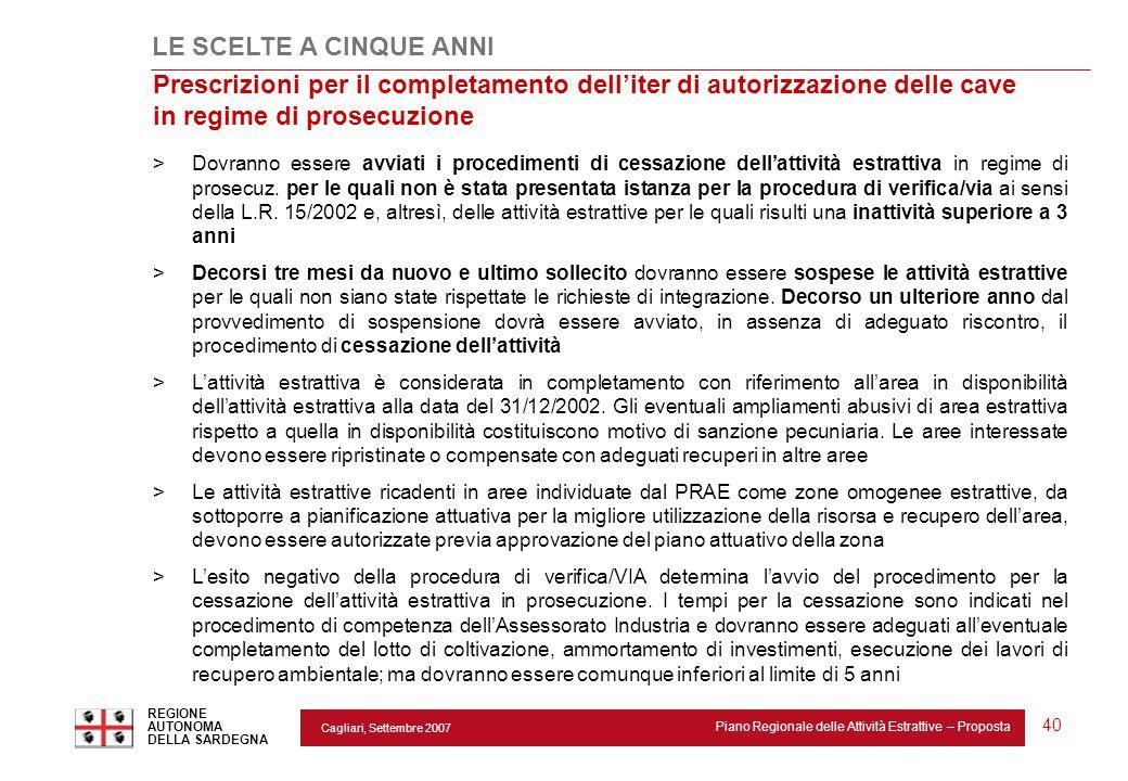 Cagliari, Settembre 2007 Piano Regionale delle Attività Estrattive – Proposta REGIONE AUTONOMA DELLA SARDEGNA 40 Prescrizioni per il completamento del