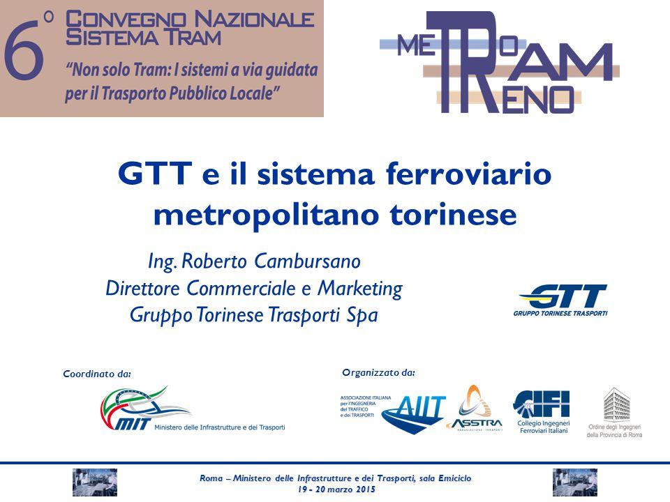 Roma – Ministero delle Infrastrutture e dei Trasporti, sala Emiciclo 19 - 20 marzo 2015 19 - 20 marzo 2015 Coordinato da: Organizzato da: GTT e il sis