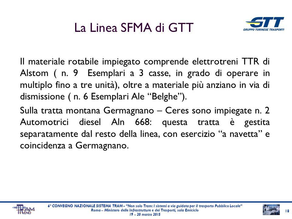La Linea SFMA di GTT Il materiale rotabile impiegato comprende elettrotreni TTR di Alstom ( n. 9 Esemplari a 3 casse, in grado di operare in multiplo