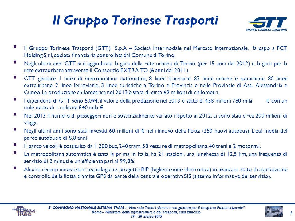 """Il Gruppo Torinese Trasporti 2 6° CONVEGNO NAZIONALE SISTEMA TRAM - """"Non solo Tram: I sistemi a via guidata per il trasporto Pubblico Locale"""" Roma – M"""