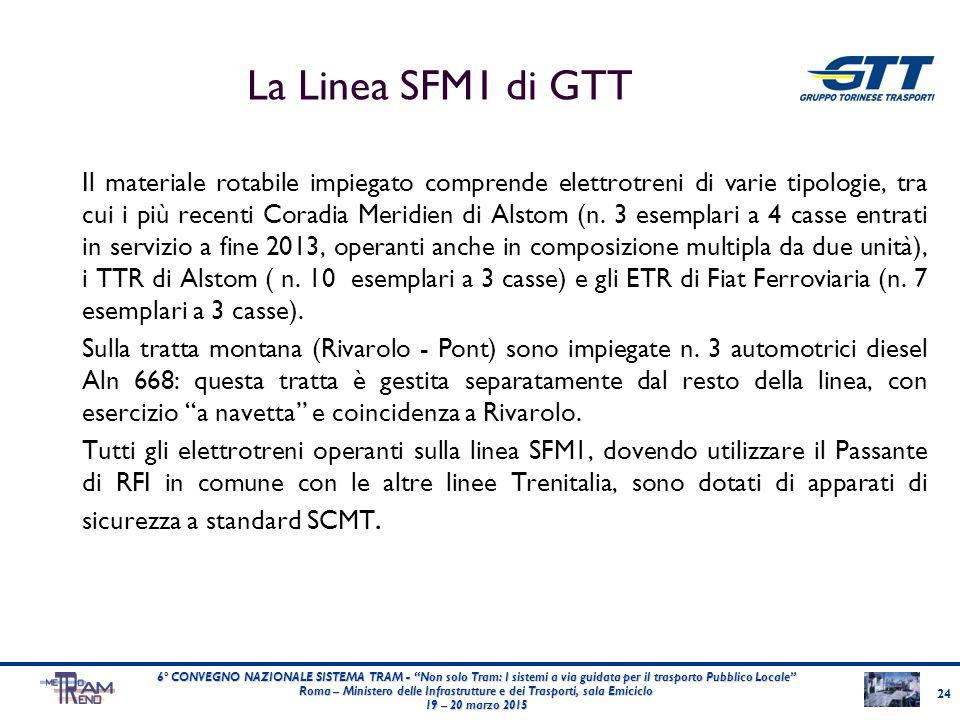 La Linea SFM1 di GTT Il materiale rotabile impiegato comprende elettrotreni di varie tipologie, tra cui i più recenti Coradia Meridien di Alstom (n. 3