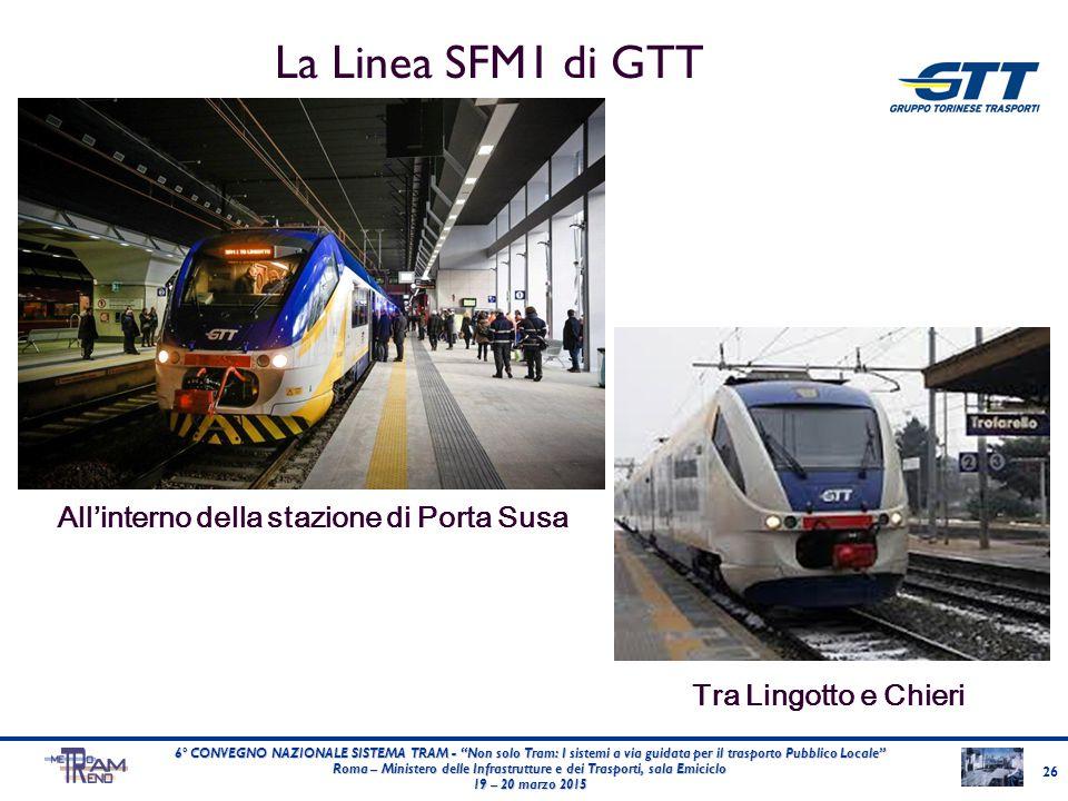 """La Linea SFM1 di GTT 26 6° CONVEGNO NAZIONALE SISTEMA TRAM - """"Non solo Tram: I sistemi a via guidata per il trasporto Pubblico Locale"""" Roma – Minister"""