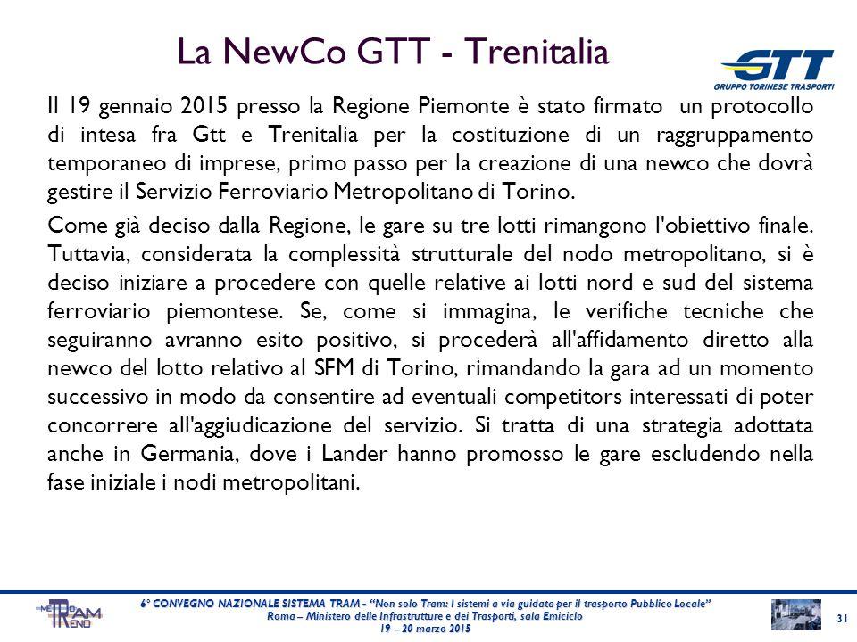 La NewCo GTT - Trenitalia Il 19 gennaio 2015 presso la Regione Piemonte è stato firmato un protocollo di intesa fra Gtt e Trenitalia per la costituzio