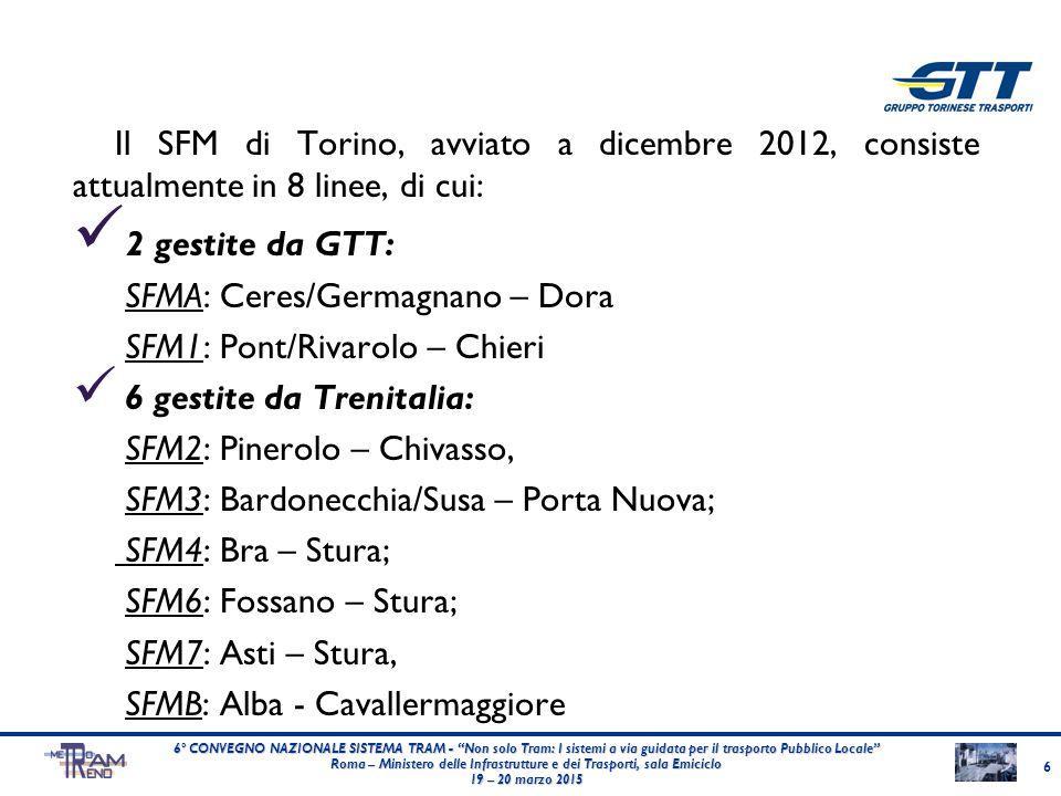 Il SFM di Torino, avviato a dicembre 2012, consiste attualmente in 8 linee, di cui: 2 gestite da GTT: SFMA: Ceres/Germagnano – Dora SFM1: Pont/Rivarol