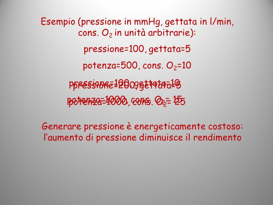 Esempio (pressione in mmHg, gettata in l/min, cons. O 2 in unità arbitrarie): pressione=100, gettata=5 potenza=500, cons. O 2 =10 pressione=100, getta
