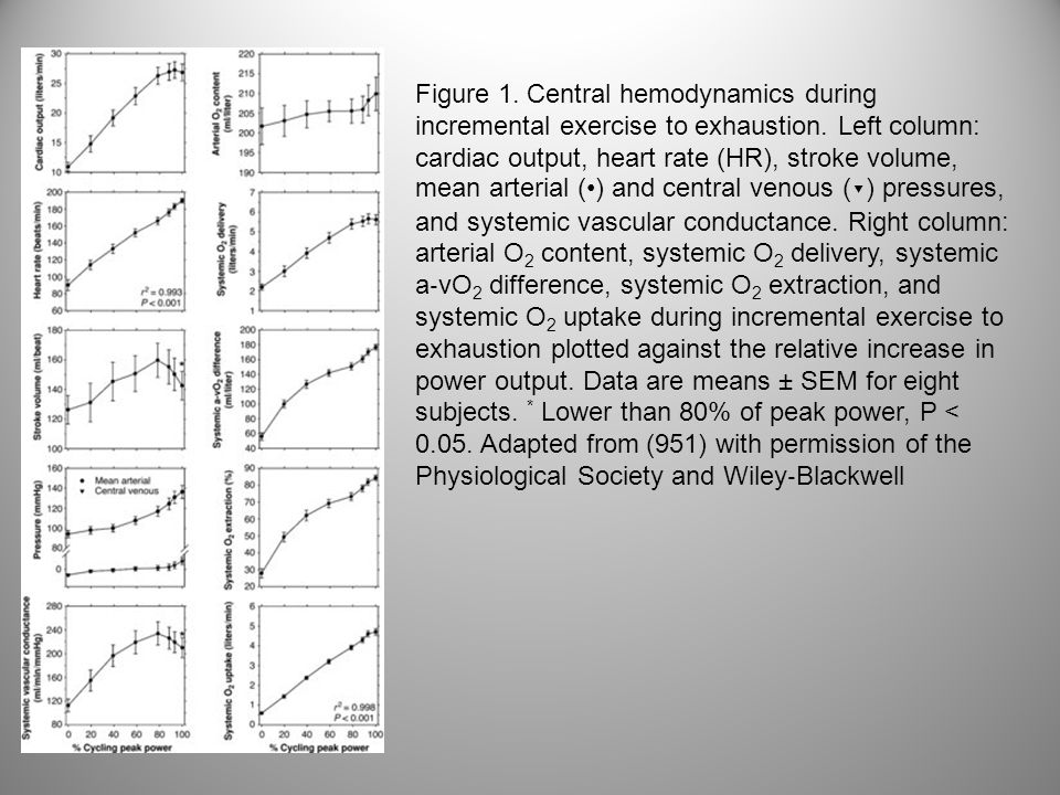 Figure 1. Central hemodynamics during incremental exercise to exhaustion. Left column: cardiac output, heart rate (HR), stroke volume, mean arterial (