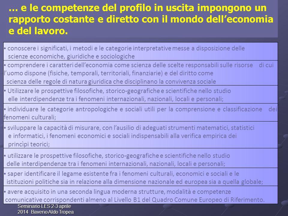 Seminario LES 2-3 aprile 2014 Baveno Aldo Tropea … e le competenze del profilo in uscita impongono un rapporto costante e diretto con il mondo dell'economia e del lavoro.