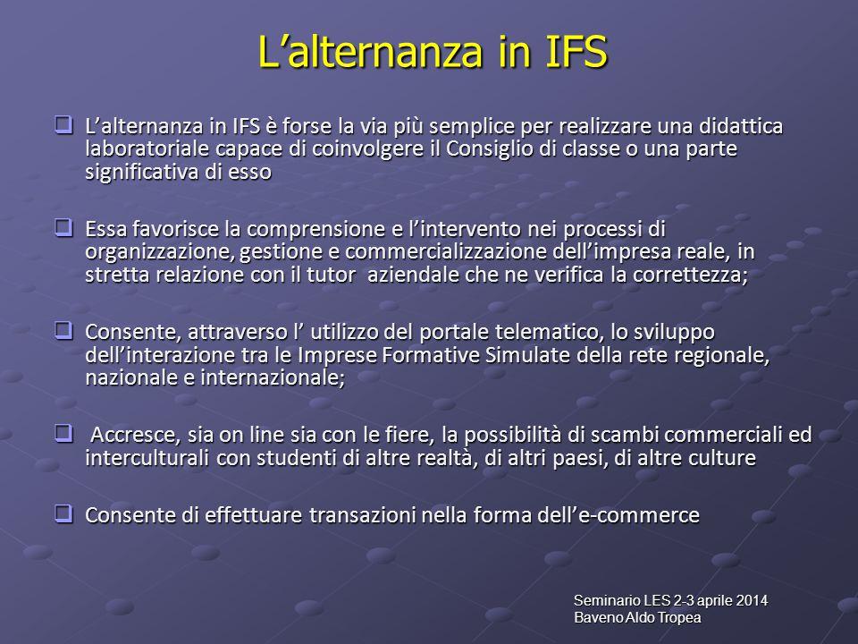 Seminario LES 2-3 aprile 2014 Baveno Aldo Tropea L'alternanza in IFS  L'alternanza in IFS è forse la via più semplice per realizzare una didattica la