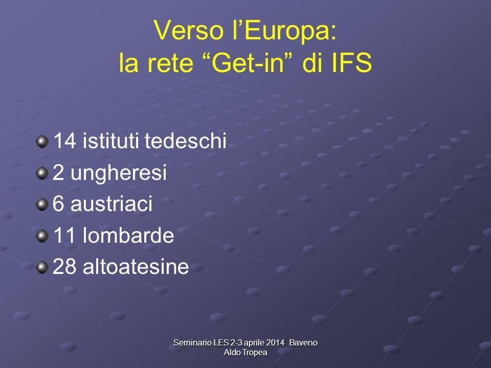 Verso l'Europa: la rete Get-in di IFS 14 istituti tedeschi 2 ungheresi 6 austriaci 11 lombarde 28 altoatesine Seminario LES 2-3 aprile 2014 Baveno Aldo Tropea
