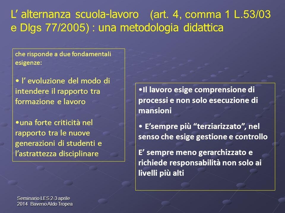 Seminario LES 2-3 aprile 2014 Baveno Aldo Tropea che risponde a due fondamentali esigenze: l' evoluzione del modo di intendere il rapporto tra formazi