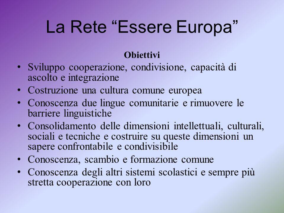 """La Rete """"Essere Europa"""" Obiettivi Sviluppo cooperazione, condivisione, capacità di ascolto e integrazione Costruzione una cultura comune europea Conos"""